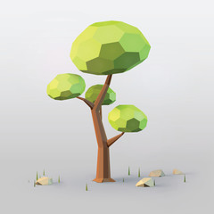 Realistic low poly scene with tree, stones and grass. Technologycal nature eco concept. Volumetric triangular landscape. Vector illustration