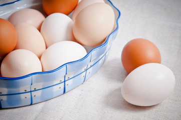 raw hen eggs in vintage bowl like in rustic styl like a concept for organic, classic, farm cooking and Easter