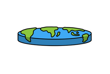 Flat Earth Illustration, a hand drawn vector cartoon illustration of a flat earth.