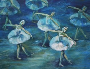 ballet Painting Acrylic and Full spectrum on Cardboard