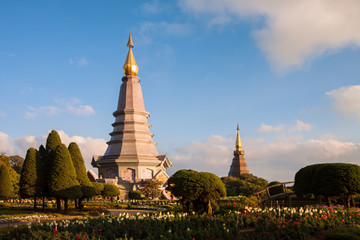 Landscape two pagoda at doi Inthanon national park , chiang mai ,Thailand,