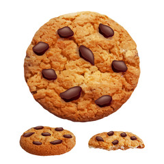 Chocolate chip cookies 3d photo realistic vector