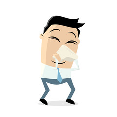 sneezing man with handkerchief clipart