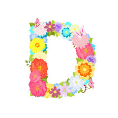 Romantic letter of meadow flowers and butterflies D