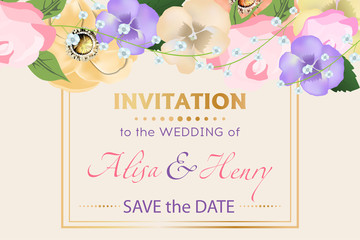 Wedding invitation template with beautiful flowers greeting card. Vector illustration.