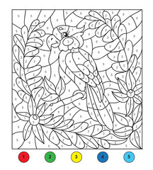 Color by number (Parrot). Game for children, education game for children. Color by number, black and white illustration