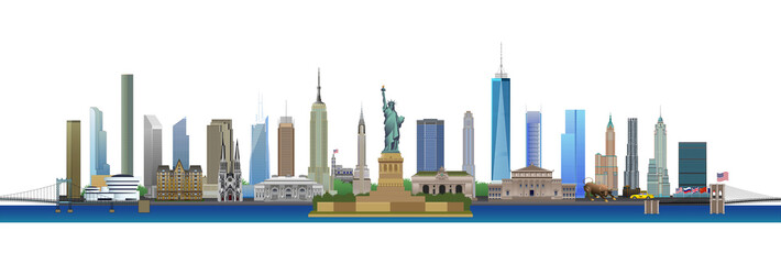New York City skyline, vector