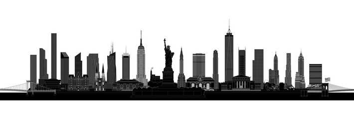 New York City skyline silhouette, vector