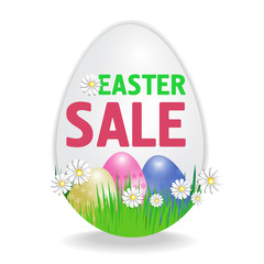 Easter sale poster in the shape of an egg with paschal eggs isolated on white background. Vector