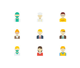 Professional icons set with construction worker, computer programmer and teacher elements. Set of professional icons also including contractor sign for your web app logo UI design.