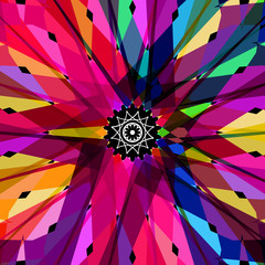 Abstract colorful kaleidoscope vector background on black.