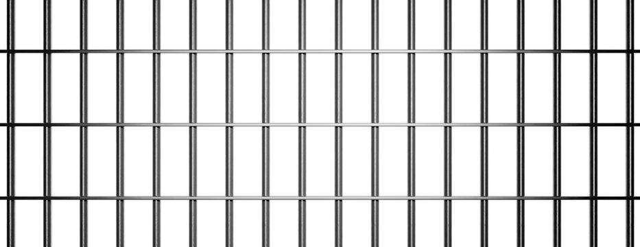 Prison, jail bars on white background, banner. 3d illustration