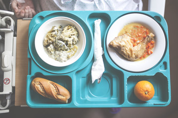 tray with hospital food