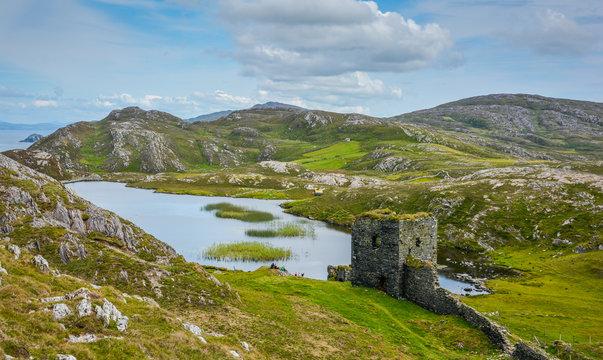 Dunlough Castle, ruins in Three Castles Head, in the Mizen Peninsula, County Cork, Ireland.