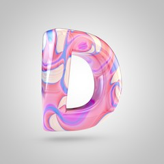 Glossy holographic pink letter D uppercase isolated on white background