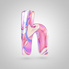 Glossy holographic pink letter H lowercase isolated on white background