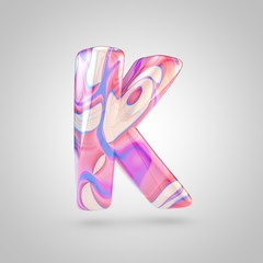 Glossy holographic pink letter K uppercase isolated on white background