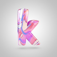 Glossy holographic pink letter K lowercase isolated on white background