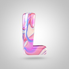 Glossy holographic pink letter L uppercase isolated on white background