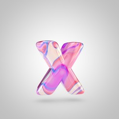 Glossy holographic pink letter X lowercase isolated on white background