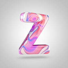 Glossy holographic pink letter Z uppercase isolated on white background