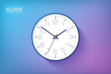 Realistic simple Clock in flat style with numbers, watch on purple and blue background. Business illustration for you presentation. Vector design object.
