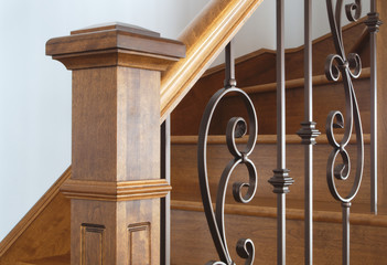 Photo on textile frame Stairs wood stairs newel handrail staircase home interior classic victorian style
