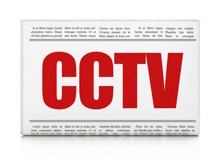 Privacy concept: newspaper headline CCTV on White background, 3D rendering