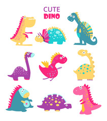 Cute vector dinosaurs. Big set