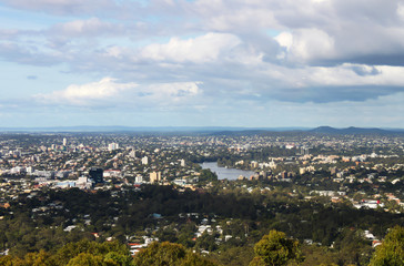 Looking down on Brisbane Australia CBD and Brisbane River from Mt Cootha overlook
