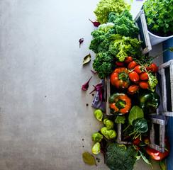 Fresh vegetables flatlay