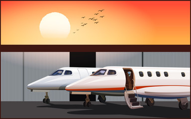 Luxury business jets at sunset