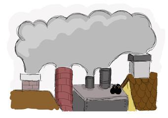 smog in the city - illustration for children