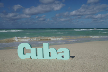 """The word """"Cuba"""" against the background of the ocean"""