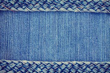 denim texture background, jeans braided strap border