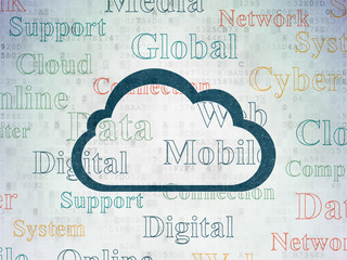 Cloud technology concept: Painted blue Cloud icon on Digital Data Paper background with  Tag Cloud