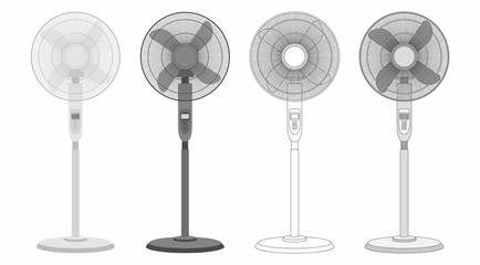 set of Electric fan isolated on white background