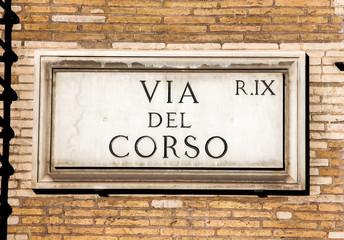 Street sign Via del Corso in Rome, Italy