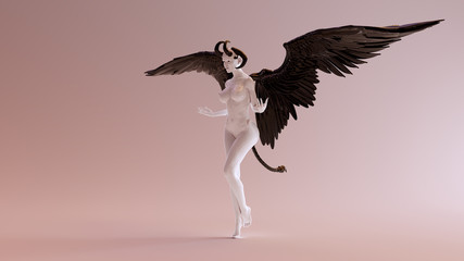 Sexy White Abstract Devil Woman 3d illustration
