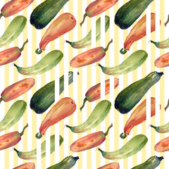 Seamless pumpkin watercolor squash pattern with natural illustrations on the paper. Amazing for textile, wallpapers, greetings card, web, backgrounds.