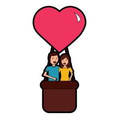 couple traveling in air balloon adventure romance vector illustration