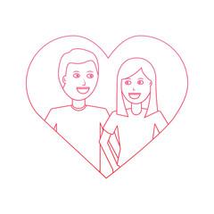 couple together love heart background vector illustration degrade line design