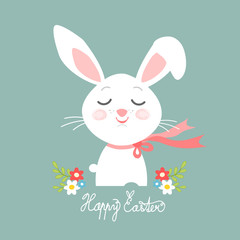 Easter bunny head, Easter greeting card, vector illustration
