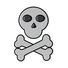 skull cross bones danger alert image vector illustration