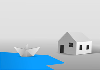 A paper boat saling in a lake close to a paper house. Vector illustration