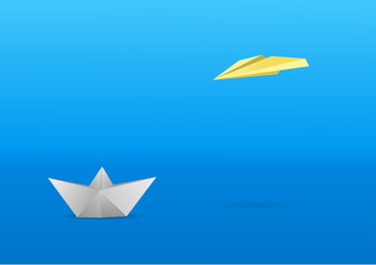 A little papr boat and a paper glider over a minimalistic background. Vector illustration