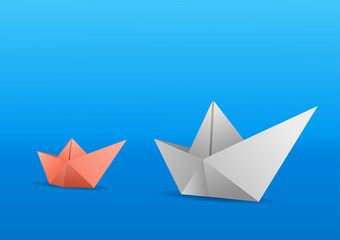 A little fleet of two paeper botas. One white and one salmon. Vector illustration