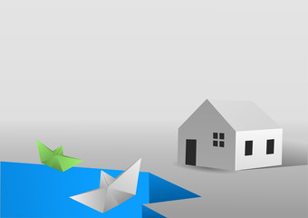 Paper landscape with paper boats a paper house falling trhough an empty  lake. Vector illustration