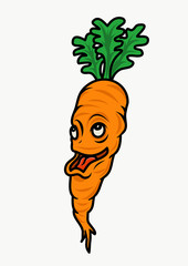 Funny Carrot character. Vector Illustrator