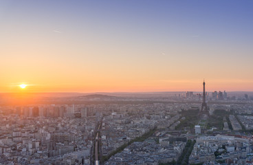 Top view of the Eiffel tower looking from Montparnasse tower with sunset